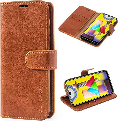 Mulbess Handyhülle für Samsung Galaxy M31 Hülle Leder, Samsung Galaxy M31 Klapphülle, Samsung Galaxy M31 Schutzhülle, Handytasche für Samsung Galaxy M31 Tasche, Braun
