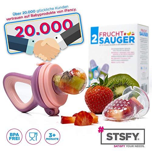 2 Fruchtsauger für Baby & Kleinkind + 6 Silikon-Sauger in 3 Größen – BPA-frei – Schnuller Beißring für Obst Gemüse Brei Beikost - 5