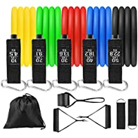 Nonyi Exercise Bands with Door Anchor, Handles, Bag for Resistance Training, Physical Therapy, Home Workouts