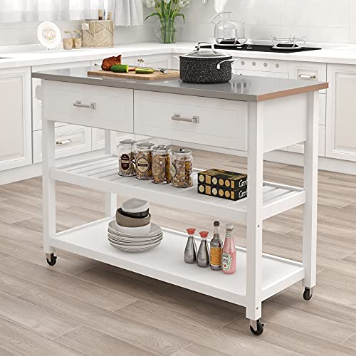 """Kitchen Island RASOO White Stainless Steel Top Kitchen Cart On Wheels with 2 Drawers and Storage Shelves, 47.24""""x19.68""""x35.82""""(LxWxH"""