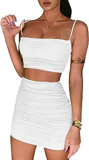Women's Ruched Cami Crop Top Bodycon Skirt 2 Piece...