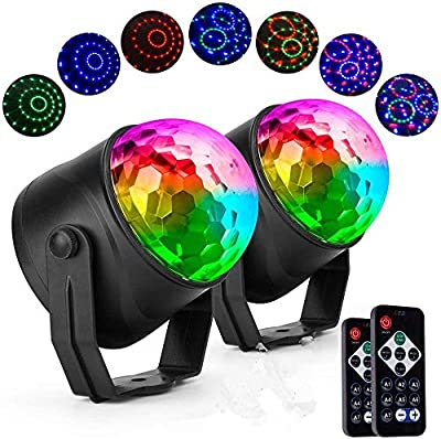 XY 2 Pack USB powered Sound Activated disco ball Lights with 4M/13ft USB Power Cable, 3W RGB Party Lights with Remote Control for Kids Birthday, Christmas Party
