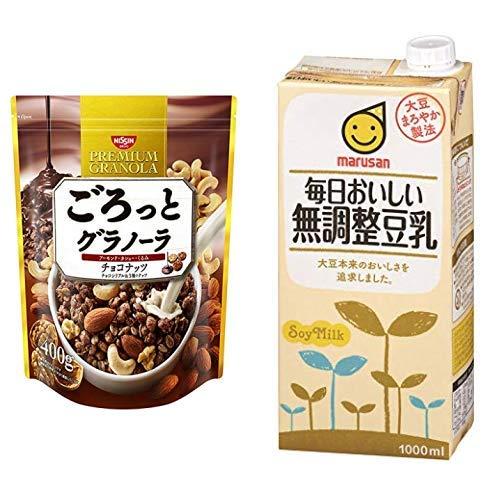 【セット買い】ごろっとグラノーラチョコナッツ400g 400gX6袋 + マルサン 毎日おいしい無調整豆乳 1000ml×6本