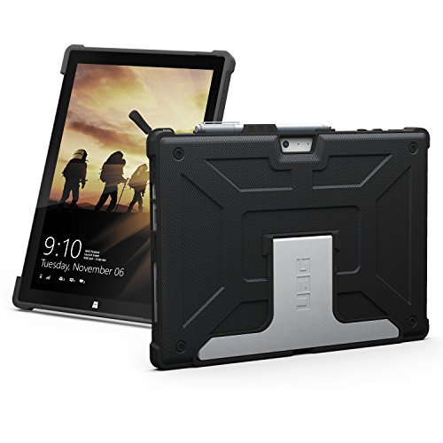 URBAN ARMOR GEAR UAG Designed for Microsoft Surface Pro 7 Plus, Pro 7, Pro 6, Pro 5th Gen (2017) (LTE), Pro 4 Feather-Light Rugged Black Aluminum Stand Military Drop Tested Case