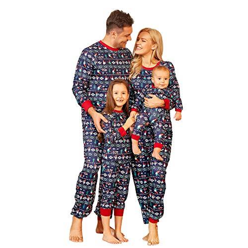 Weihnachten Schlafanzug Familie Pyjama Set Schlafanzüge Lang aus Baumwolle Nachtwäsche für Damen Herren Mädchen Jungen (Mutter, L)