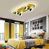 Monopatín ligero Lámpara de techo, los entusiastas de habitaciones y el deporte del patín de la lámpara de techo regulable for niños de dormitorios de la sala, con control remoto, 32W, metal/plástic