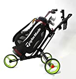MEIQI Chariot De Golf Pliable, Golf Cart avec 3 Roues Et Système De Freinage Au Pied, Chariot De Rangement Idéal pour Les Golfeurs