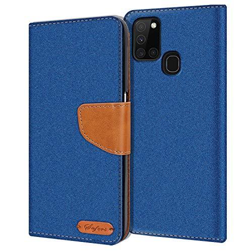 Verco textil plånbok kompatibel med Samsung Galaxy A21s skal, premie hållbar tyg skyddsfodral för Samsung A21s väska case, Blå