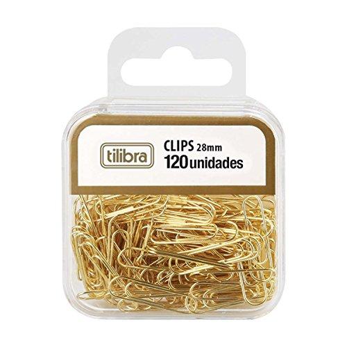 Clips 28mm Dourado 120 Unidades,Tilibra - 1 un
