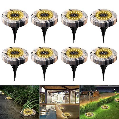 Solarleuchten für Außen swonuk 16 LEDs 8 Pack Solar Bodenleuchten Wasserdicht Solarlampen Gartenleuchten für Rasen/Gehweg/Patio/Hof