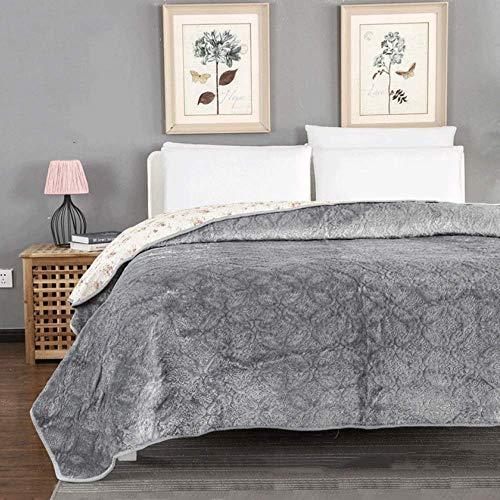 Colcha de franela, edredón, individual, doble, tamaño queen, tamaño king, para mantener el calor, manta, sábana, flores de cerezo, bordado, algodón, acolchado, para ropa de cama para todas las estacio