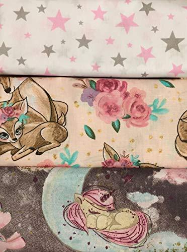 Nahla: Mädchen Baumwollstoff Stoffpaket mit Einhörner, Rehe und Sterne | 3x 50x160cm | Kinderstoff