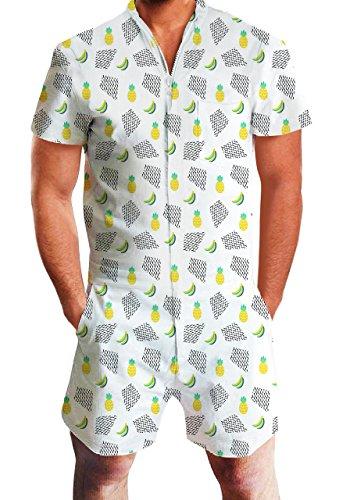 chicolife Mens Grandi Camicie con Spiaggia dei Pantaloni di Bicchierini di Frutta ha Stampato Il Pagliaccetto Tuta Outfits Abiti Bianchi