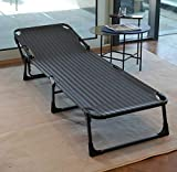 KINGBO Folding Portable Patio Chaise Lounges, Nap Bed, Lawn Recliner, Reclining Patio Lounger Chair, Sunbathing Chair with Headrest for Indoor & Outdoor (Textilene)