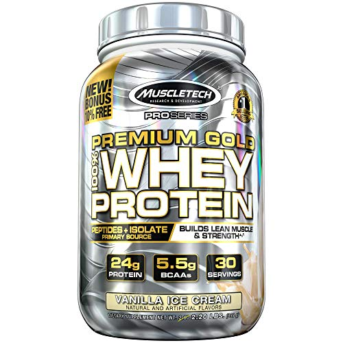 Protein Powder | MuscleTech Premium Gold 100% Whey Protein Powder | Whey Protein Isolate & Peptides | Whey Isolate Protein Powder for Women & Men | Vanilla Protein Powder, 2.2 lbs (30 Servings)
