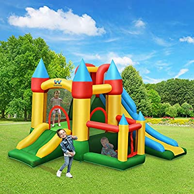 WATERJOY Kids Inflatable Castle with 780W Blower,Inflatable Bounce House, Kids Slide Jumping Castle, Jumping Bouncer Slide Trampoline House Castle for Outdoor Indoor Play with Blower from WATERJOY