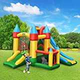 WATERJOY Kids Inflatable Castle with 780W Blower,Inflatable Bounce House, Kids Slide Jumping Castle, Jumping Bouncer Slide Trampoline House Castle for Outdoor Indoor Play with Blower