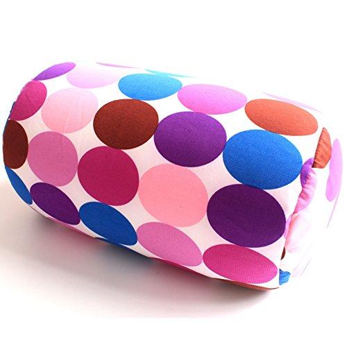 "Bookishbunny Micro Beads Cylinder Bolster Roll Pillow 7"" x 12"" (Purple Dot)"
