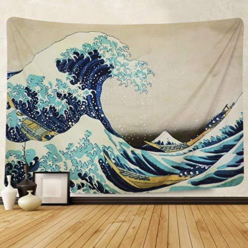 Colgar en la pared Gran ola oceánica Colgante de pared naranja al atardecer con pared arte naturaleza Decoraciones para el hogar para la sala de estar Dormitorio Decoración (B--Blue, L/148cmX200cm)