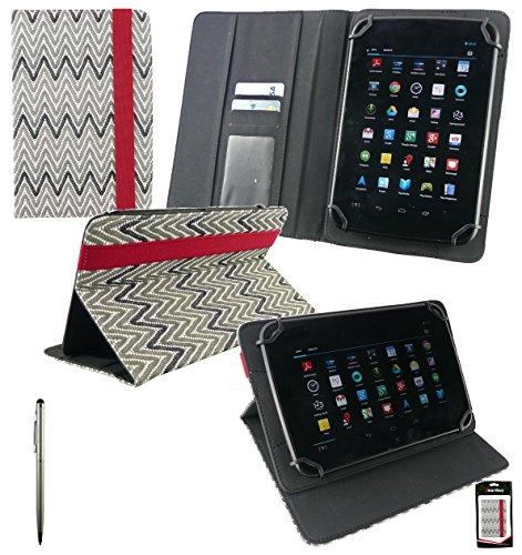 Emartbuy® EVGA Tegra Note 7 Inch Tablet Universalbereich Textured Monochrome Zigzag Multi Winkel Folio Executive Case Cover Wallet Hülle Schutzhülle mit Kartensteckplätze + Silber 2 in 1 Eingabestift