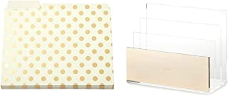 Kate Spade New York Acrylic Document Organizer with Set of 6 Gold Dot File Folders Desk Set