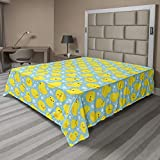 Ambesonne Rubber Duck Flat Sheet, Rubber Ducks on Water Inspired Backdrop Bubbles Funny Pattern, Soft and Comfortable Top Sheet Decorative Bedding 1 Piece, Full Size, Turquoise Yellow Orange