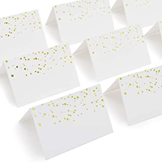 AZAZA 50 Pcs Place Cards with Gold Foil Dots - Textured Table Tent Cards Seating Place Cards for Weddings Banquets Dinner Parties 2.5