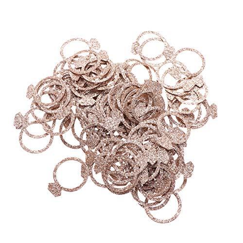 BESTOYARD Konfetti-Ringe, doppelseitig, super blinkend, für Hochzeit, Party, Roségold, 100 Stück