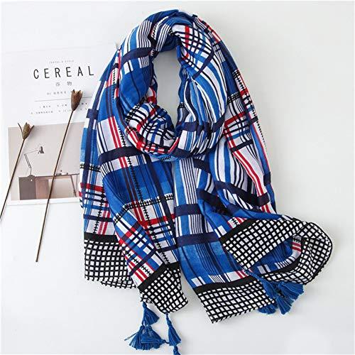 MYTJG Lady sjaal Blue Stripe Line viscose sjaal druk lange sjaal groot warm hoofddoek met sjaalkraag