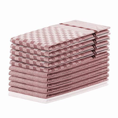 DecoKing 10er Set Küchentücher 50x70 cm mit Aufhänger 100% Baumwolle Altrosa Rosa hochwertige Geschirrtücher Louie