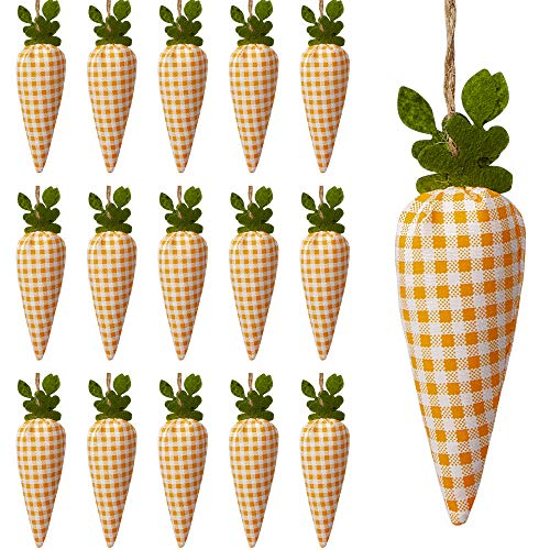 SHANGXING 16 Pcs Easter Carrot Hanging Ornaments- Plaid Print Pattern Easter Artificial Mini Carrot Hanging Ornaments for Easter Party Home DIY Craft Decor