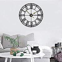 qwertyuio リビングルーム用壁掛け時計大型壁掛け時計、ヨーロッパの工業用ヴィンテージローマ数字時計、家庭用屋内サイレントバッテリー金属装飾時計、ロフト、リビングルーム、キッチン、書斎、32インチ