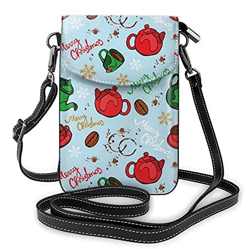 QQIAEJIA Sac à main de téléphone de vaisselle de Noël, sac à main de téléphone en cuir d'unité centrale, sac de téléphone portable de dames, paquet de carte