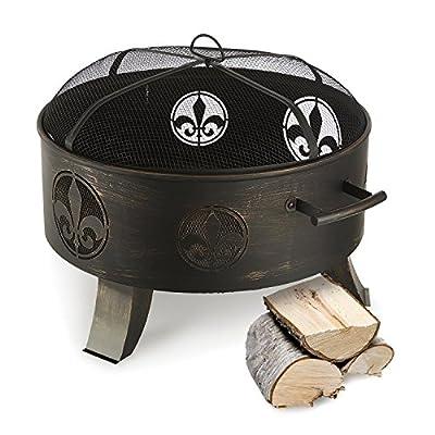 blumfeldt Versailles Fire Bowl (Elegant Ø 60 cm Steel Fire Pit, Incl. Filigree with Fleur-de-Lis Optics) Black from Blumfeldt