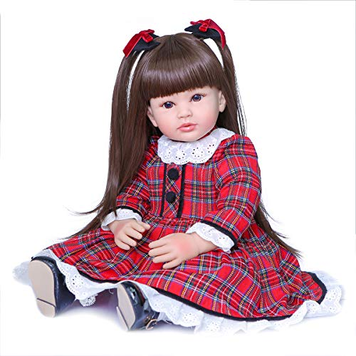 MNMJ Lifelike Reborn Baby Dolls 24 Inch Weighted Reborn Girl Doll with Long Hair Realistic Looking Toddler Princess Girls Best Birthday Set for Girls Age 3