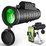 Monocular Telescope, High Power Waterproof Monocular Telescope BAK4 Monoculars with Phone Clip and Tripod for Cell Phone. HD Monocular for Bird Watching