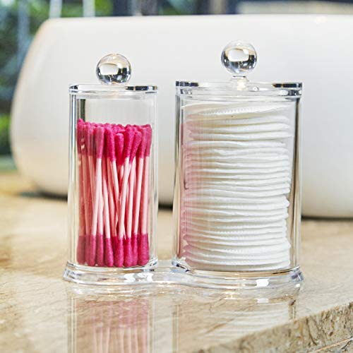 PuTwo Makeup Organizer Cotton Pads Holder Swab Jar Divider with 2 Sections