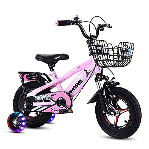 FUFU Bicicleta para niños, Bicicleta para niños para niños, 3 Colores, 12', 14', 16', 18' con estabilizadores y Cesta de Flash, para niños de 3 a 9 años. (Color : Pink, Size : 12in)