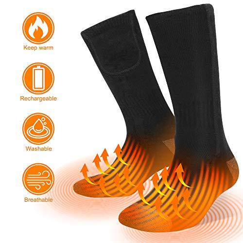 Sylanda Beheizte Socken für Damen und Herren, Elektrisch Thermosocken Beheizbare Socken Heated Sneaker Socks mit Wiederaufladbare Batterien für Weihnachten Wandern Camping Angeln Socken