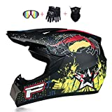 Motocross Youth, Adult Helmet DOT Approved Motorbike Moped Motorcycle Off Road Full Face Crash Downhill DH Four Wheeler Helmet for Street Bike Dirt Bike BMX ATV Quad MX Boys Girls S-XL,Matte black p,S