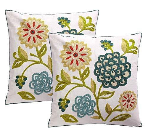 Fundas de almohada bordadas de algodón de 45 x 45 cm, decoración del hogar para sofá, cama, sala de estar, 2 unidades