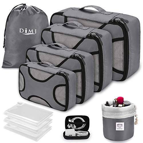 Packing Cubes for Travel, DIMJ 10 PCS Luggage Organiser for Suitcase Lightweight Travel Essentials Bag with Vacuum Storage Bag for Clothes Shoes Cosmetics Toiletries Cable Storage Bags (Grey)