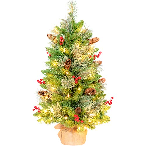 Amaoasis 3ft Pre-lit Artificial Pine Christmas Tree with 70 Warm White Lights,Flocked with 12 PineCones,12 Red Berries