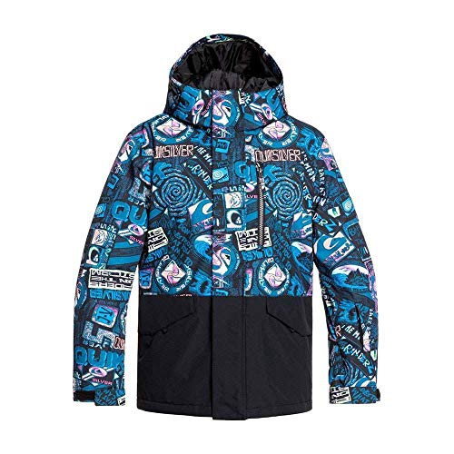 Quiksilver Mission Block-Chaqueta para Nieve para Chicos 8-16, Niños, Black Bark to The Moon, 10/M