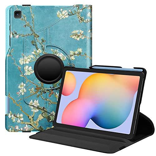 Fintie Hülle für Samsung Galaxy Tab S6 Lite - 360 Grad verstellbare Schutzhülle mit S Pen Halter, Auto Schlaf/Wach Funktion für Samsung Tab S6 Lite 10.4 SM-P610/ P615 2020, Mandelblüten
