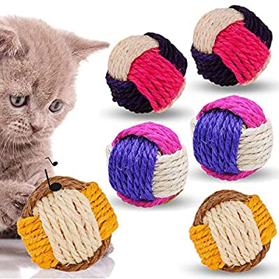 6 Pack Cat Toy Ball, Cat Sisal Balls Toys for Indoor Cats Interactive, Durable Pet Cat Ball with Bells Animal Pet Games Supplies (Random Color)