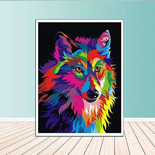 WSNDGWS Artista de Pared Residencia Decoración Moderna Acuarela de Lienzo de Lobo Coloreado sin Marco de Imagen B3 40x50cm