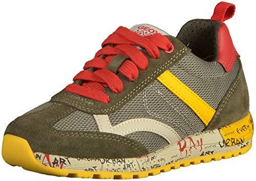 Geox Jungen J ALBEN Boy A Sneaker, Grün (Military/Yellow C0099), 31 EU