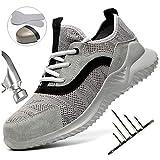HOAPL Hombres Calzado Seguridad Transpirable protección Ligera Zapatilla Deporte Anti-colisión Anti-Piercing,Gris,42