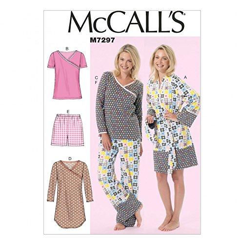 McCall's Damen-Schnittmuster 7297, Morgenmantel, Nachthemd und Schlafanzug